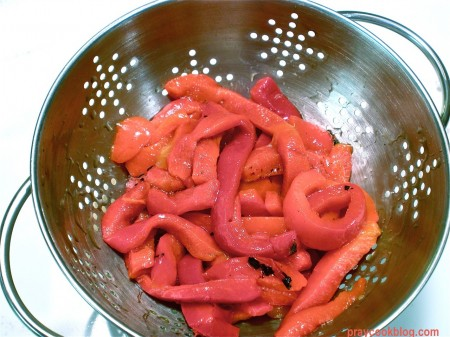 Roasted red pepper before chopping