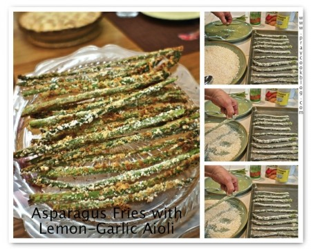 "Baked Parmesan Asparagus ""Fries"" with Lemon-Garlic Aioli"