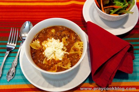 lasagna soup and salad plated