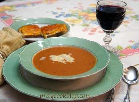 tomato soup cheese wine