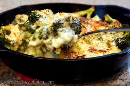 broccoli au gratin spoonful