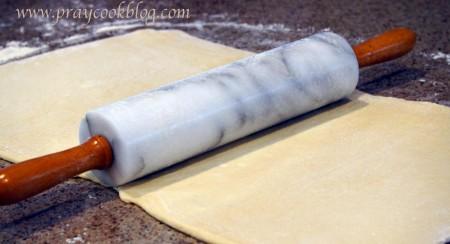 croissant dough rolling
