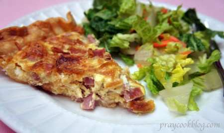 quiche and salad plated