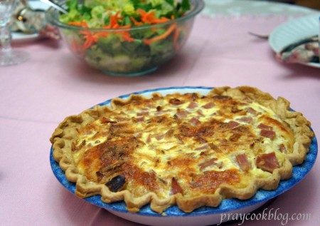 quiche and salad tabled