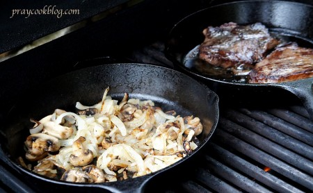 steak onions on grill