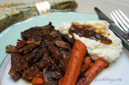 pot roast plated upclose