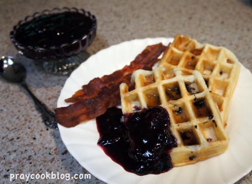 blueberry sauce and waffles