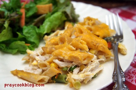 penne chicken plated