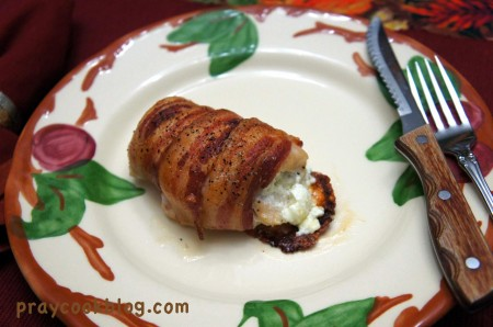 bacon wrap stuffed chicken single