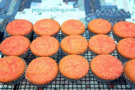 fresh strawberry cupcake cooling