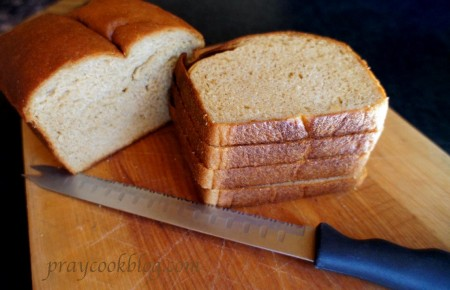 whole wheat bread stacked sliced