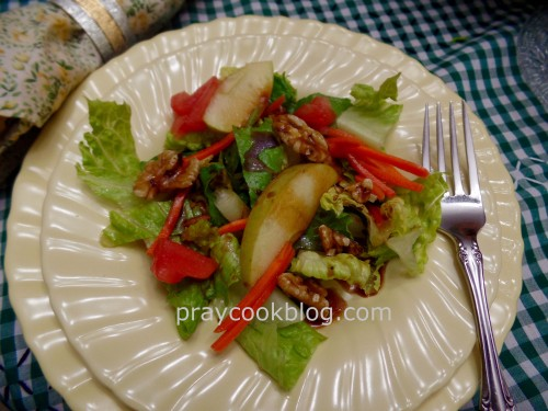 Apple walnut salad with Apple Balsamic Vinaigrette