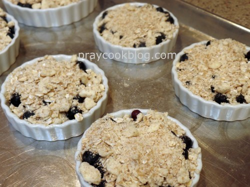 blueberry crumble before baking