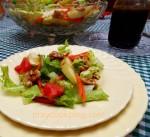 Homemade Apple Balsamic Vinaigrette on an Apple Walnut Salad