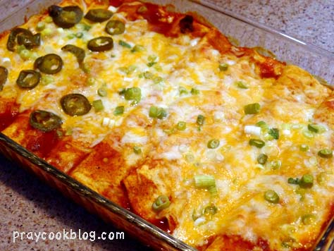 Beef Enchiladas Sprinkled With A Few Jalapeno's for The Chief