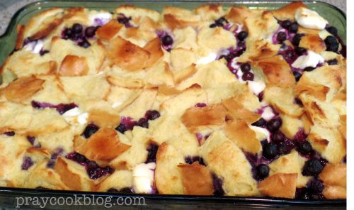 Blueberry Cream Baked French Toast