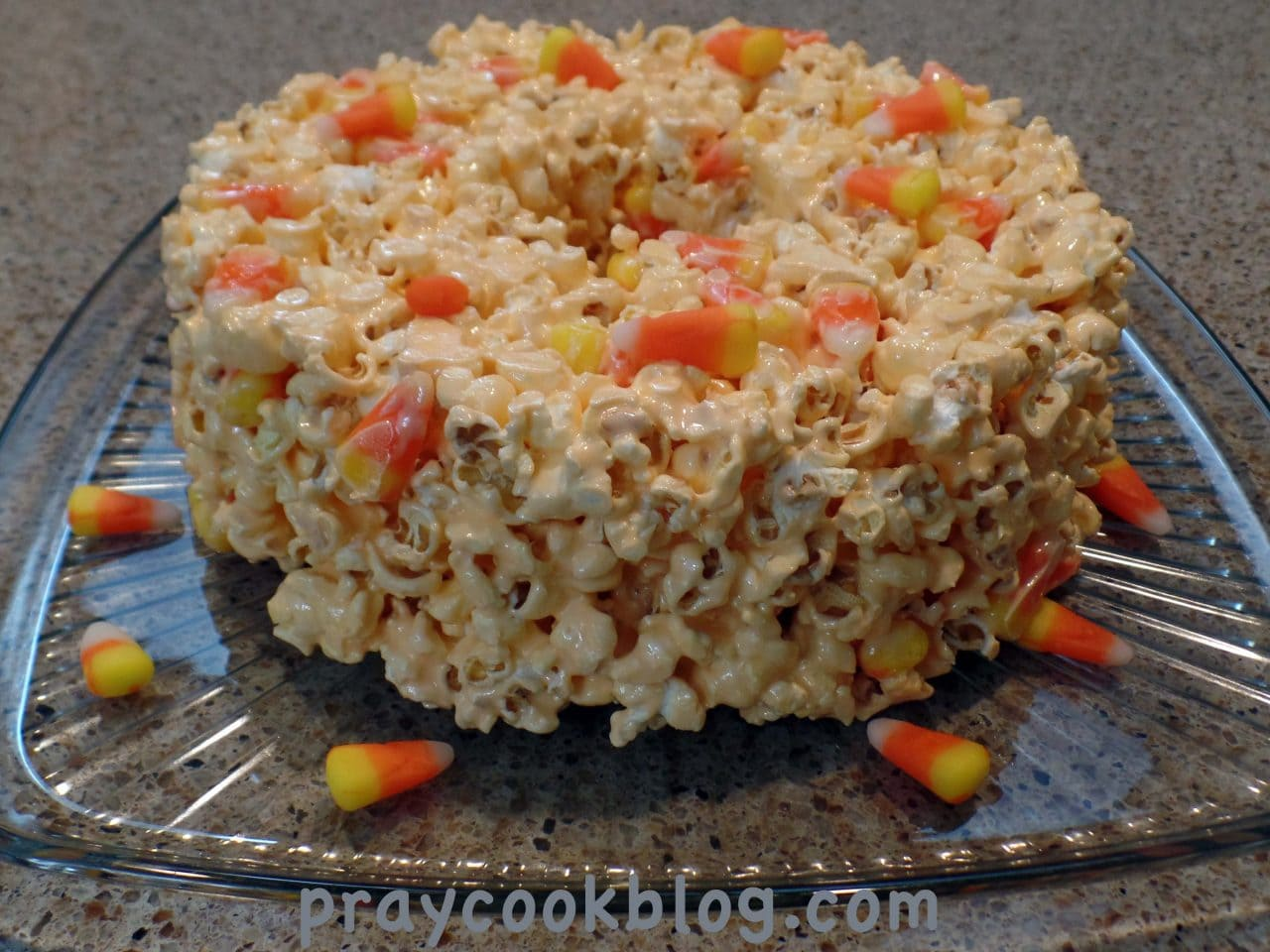 Candy Corn Popcorn Cake