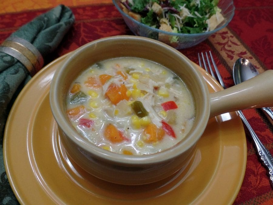 Chicken Sweet Potato Corn Chowder single Plated
