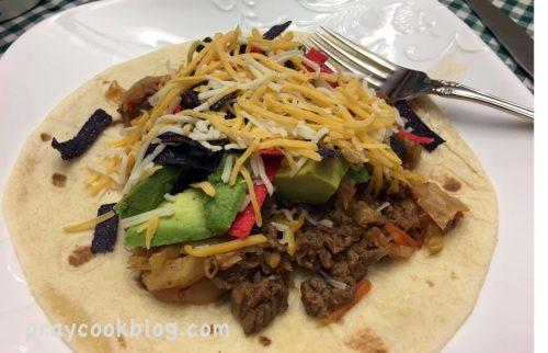 Warm Taco slaw plated