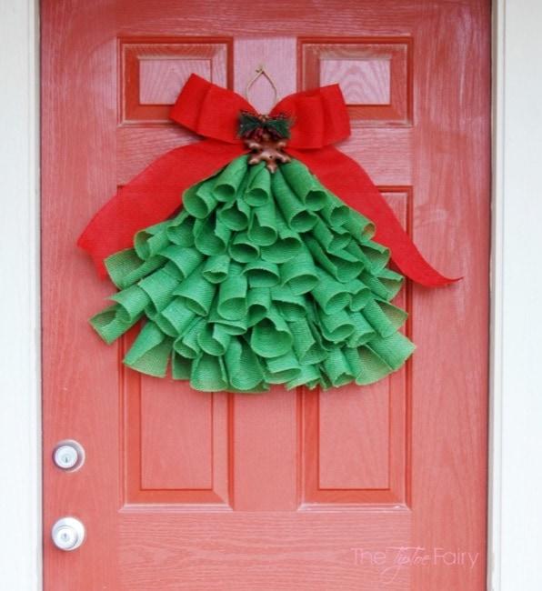 DIY Christmas Burlap Tree Door Decoration