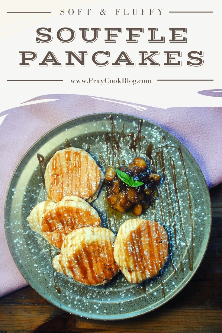 Soft & Fluffy Souffle Pancakes with Caramelized Bananas