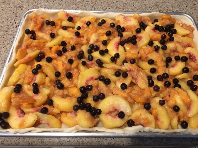 Peach and Blueberry Slab Pie